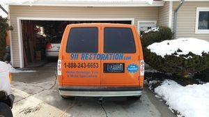 water damage Angelton equipped truck