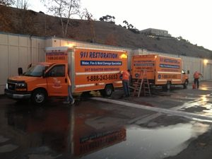Water damage Brazoria equipped trucks